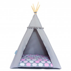 Pet bed TIPI bed – Pink dots