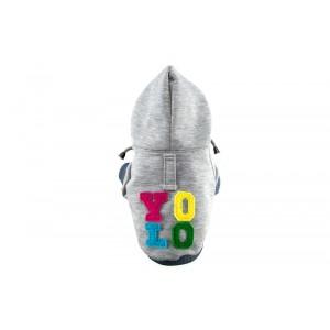 Dog hoodie YOLO gray