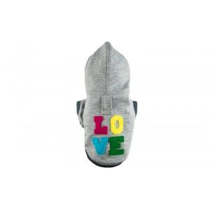 Dog hoodie LOVE gray